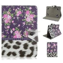 Leopard Print Flowers Design Flip Stand PU Leather Cover Case For 7/10 inch Universal Tablet PC