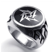 Guangzhou Daimily Biker Jewelry Stainless Steel Ring Men's Black Fire Ring