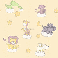 Cute animals cartoon wallpaper for kids room
