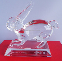 2015 hot sale Wholesale Crystal 3D laser Rabbit Model for office decoration/ home decoration/birthday gift