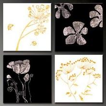 Haute qualité noir et blanc fleur peinture à l'huile intérieur panneaux muraux