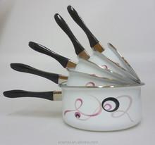 5 pcs enamel milk sauce pot cookware with removable handle