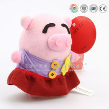 High quality and cheapest plush pig with red skirt