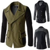 2015 New slim fit korean style splice design double breasted men's trench coat