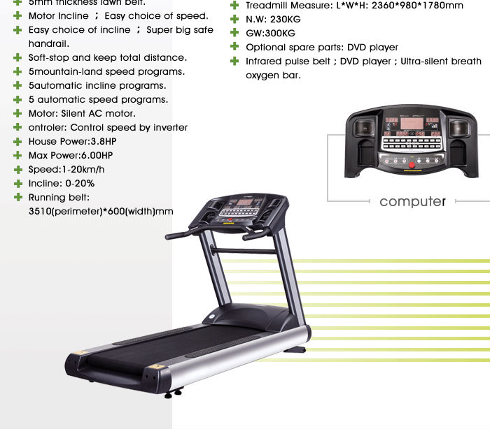 Luxurious Electric Professional inred Treadmill