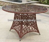 New design: PE rattan dining round table/ outdoor coffee table