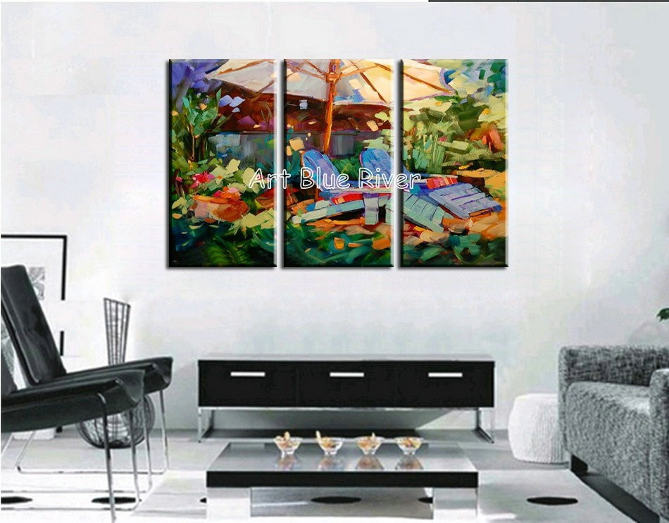 Buy 3 piece muti panel abstract handmade Artist canvas art Knife oil painting on canvas living room wall picture Kitchen decoration cheap