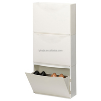Narrow Wholesale Shoe Cabinet White Mirror Shoes Chest Locker Storage Closet with iron rotating rack
