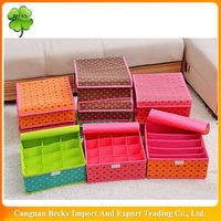 China Various colored non woven fabric folded underware storage bin with lids in WenZhou LongGang