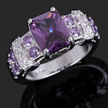 2015 Fashion Woman's Jewelry Amethyst 18K Gold Filled Ring Stamp 10KT Gift