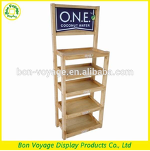 natural wooden flooring retail store wood display furniture for drinks and foods