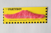 "Pack of 12 ""NEON PINK MOUSTACHES"" - adhesive - 6 styles assorted"