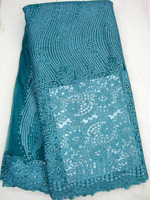 J489-2 teal french embroidery tulle lace fabric