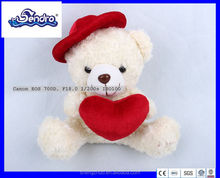 Factory direct sale lovely hot selling plush Valentine bear with red heart