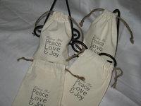 PEACE LOVE JOY Muslin Cotton Drawstring Bags, Treat Bags, Christmas Favor bags