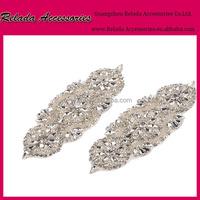 Garment accessories custom Embroidered bridal crystal beaded neckline sash belts rhinestone applique iron on dance appliques