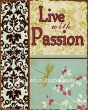 Vintage Rust Edge Live with Passion Metal Wall Decoration