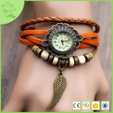 Newest Handmade Fashion Wood Beads Leather Bracelet, Adjustable Snap Button with Bass Angel Wing Bracelet