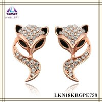 Rose Gold Plated Fox Shape Crystal Setting Shining Stud Earring For Cute Girls
