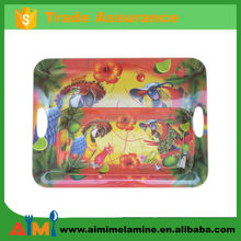 melamine serving tray set with handle