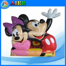 Hot sales mickey couple bouncer slide, inflatable mickey slide, big face mickey jumping bouncer slide