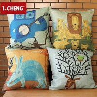 Ikea Cartoon Animals Design Cotton Cushion Cover Body Pillow Chair Seat CushionGarden Decorative Pillow Case