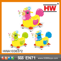 (blue ,red ,green )Funny 67 cm Free Wheel Laying Egg Rooster Walking Animal Ride On Toy