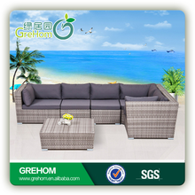 china wholesale outdoor rattan furniture 6 seater corner sofa set