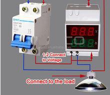 2042 series din rail dual digital volt and ammper combined meter