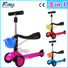 Fasy foot sliding children three wheels space scooter with CE approved