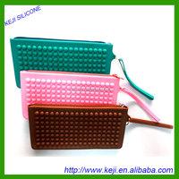 More styles zipper pen bag/candy multicolor silicone pencil case