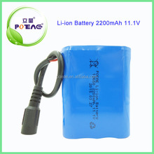 ICR18650 lithium ion battery pack 2200mAh 11.1V for industrial products