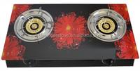 BW-XK201 Restaurant Equipment 2 Burner Cap Stove , Glass Table Gas Range/Gas Stove