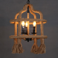 American Vintage loft style retro iron rope pendant light with led candle bulb china factory
