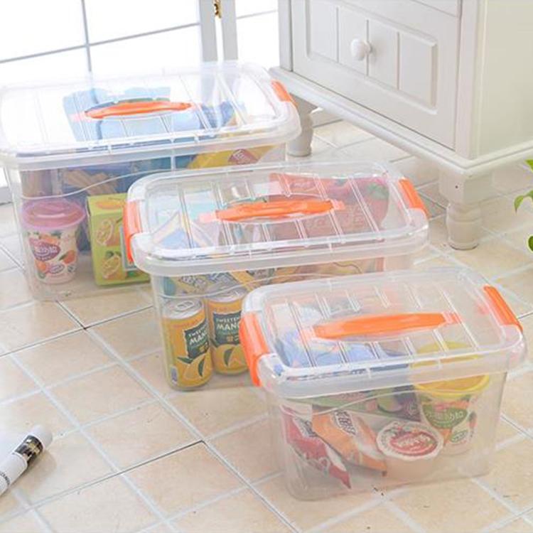 Apilables contenedores de plástico transparente pequeña a medida para almacenamiento