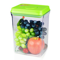 2300ml rectangle green lid with pendant easy open and lock transparent plastic airtight food storage box