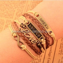 RS-YS62R53 Hot Sale Weave Punk Anchor And Rudder Charm Bracelets For Women 6 Layers Leather Ropes Female Bracelet