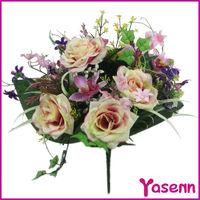 16'' Vase Flower,Mixed Decoration Flower Bush,Artificial Rose Flower Bush For Vase