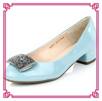 Latest young girls sky blue patent PU shoes thick mid-heels shoes for women ladies office wear pumps shoes