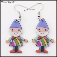 Newei 2015 Latest Design Simple Earrings Acrylic Cartoon Doll Drop Earrings For Girl Women