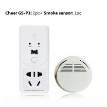 Teléfono móvil app control! wifi smart plug socket de seguridad seguridad de alarma + detector de humo