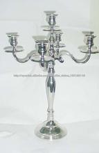 candelabros 60 cms alto acabado en plata para la boda y decoración 5 luces