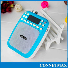 multi-function good qulity Portable mini FM Radio with USB/TF/MIC. support voice booster function for outdoor public area