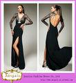 2014 venda quente até o chão racha backless manga longa vestidos de noite preto( bg840)