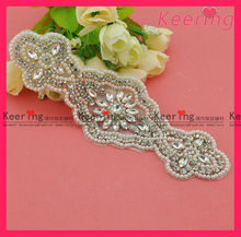 wholesale fashion beads and crystal rhinestone applique for bridal dresses WRA-369