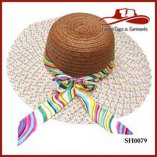 20105 Solid Wide Brim Derby Lady Beach Straw Fashion Summer Hat & Free Silk Scarf