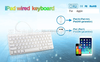 White color ultra thin laptop wired keyboard for ipad air , wired plug and play