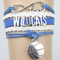 Top Quality Infinity Love WILDCATS basketball Team Bracelet blue white Customized Wristband friendship Bracelets