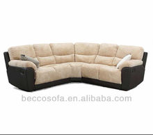 Leather Matching Fabric Corner Sofa