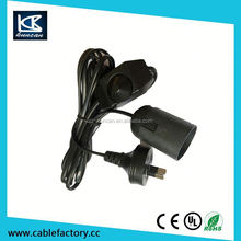 Kuncan European Eu Plug AC 250V/125v Black Table Lamp Power Cable 6Ft Dimmer Switch
